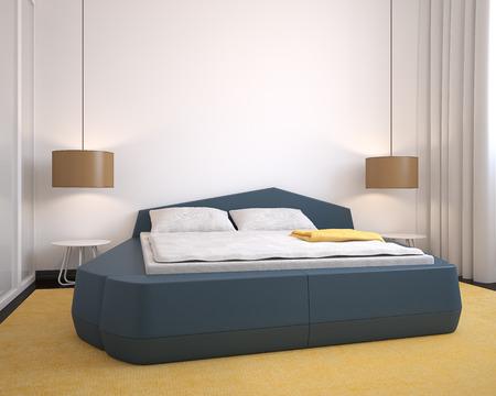 bedroom bed: Modern bedroom interior. 3d render.
