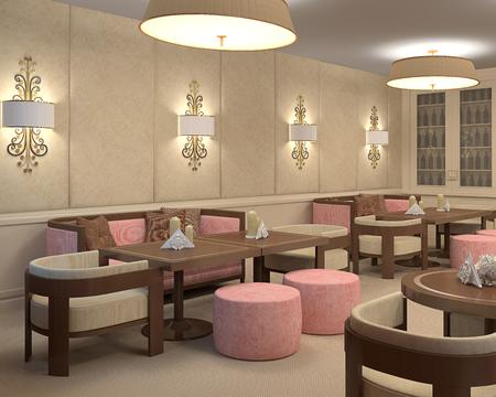 pink brown: Interior of restaurant. 3d render.