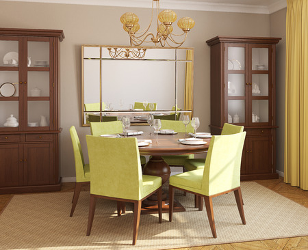 wall mirror: Dining-room interior with round table and six green chairs. 3d render.
