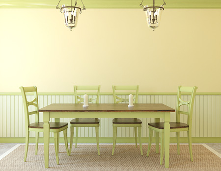 yellow green: Dining-room interior. Provence. 3d render.