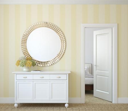 room door: Classic hallway interior. 3d render.