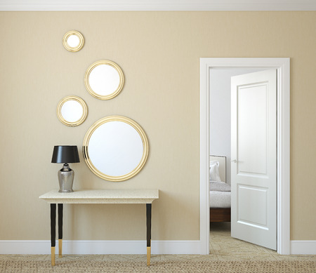 on mirrors: Modern hallway with open door. 3d render.