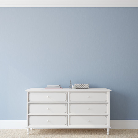 Interior with dresser near empty blue wall. 3d render.