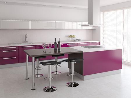 violeta: Interior de la cocina moderna. 3d. Foto de archivo