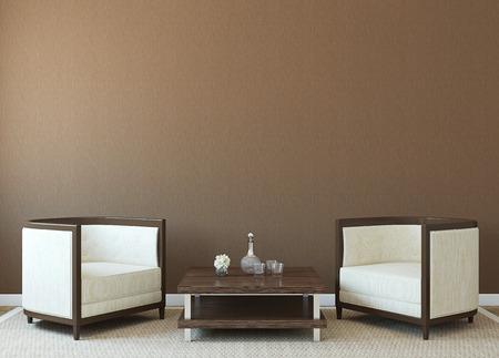 Modern inter met twee fauteuils in de buurt van lege bruine muur. 3d render. Stockfoto