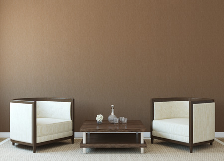 Modern interior with two armchairs near empty brown wall. 3d render. Stock fotó