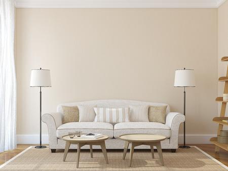 pokoj: Moderní obývací pokoj interiér s bílém gauči téměř prázdný béžové zdi. 3d render. Fotografie na přebal knihy byl se mnou.