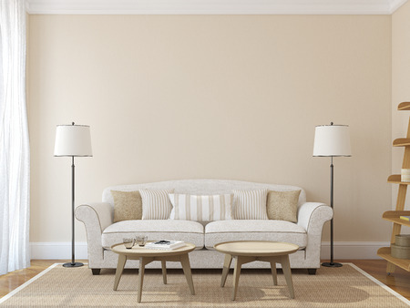 seating furniture: Modern living-room interior with white couch near empty beige wall. 3d render. Photo on book cover was made by me.