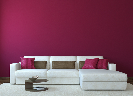 Modern living-room interior with white couch near empty red wall. 3d render. Photo for book cover was made by me.