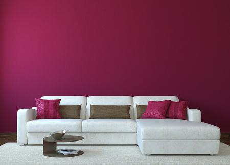 morado: Sala de estar interior moderno con el sofá blanco cerca de la pared roja vacía. 3d. Foto de portada del libro fue hecha por mí.