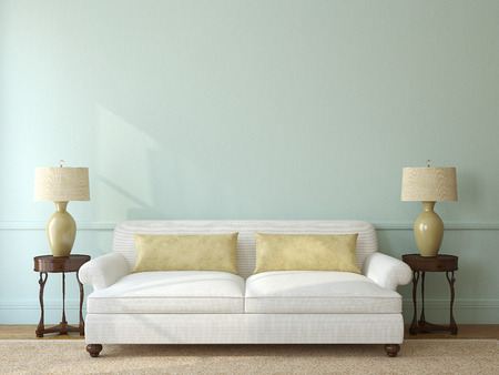case moderne: Interni classici soggiorno con divano bianco vicino alla parete blu vuoto. Rendering 3D.