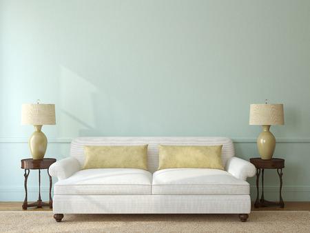 pokoj: Klasické obývací pokoj interiér s bílou pohovku v blízkosti prázdné modré zdi. 3d render.
