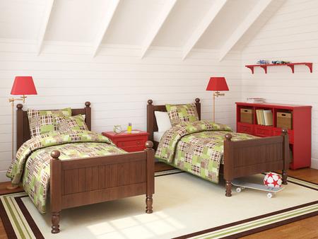 garret: Interior of playroom for two children. 3d render.