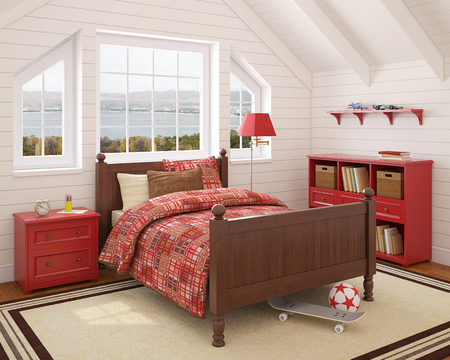 bedroom: Interior of boys room. 3d render. Photo behind the window was made by me.