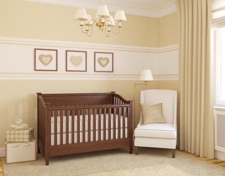 nursery: Interior of nursery. 3d render.