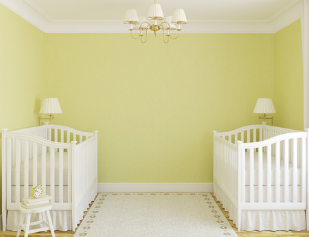 Interior of cozy nursery for twins with two cribs. Frontal view. 3d render.