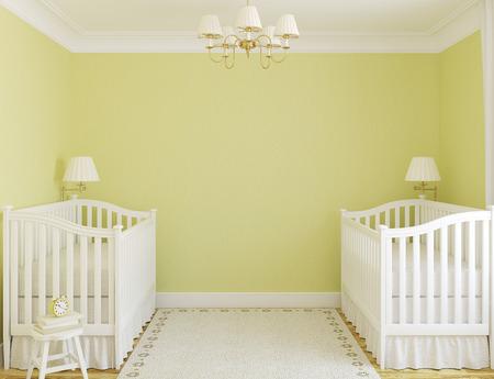 Interieur van gezellige kinderkamer voor tweelingen met twee kribben. Vooraanzicht. 3d render. Stockfoto