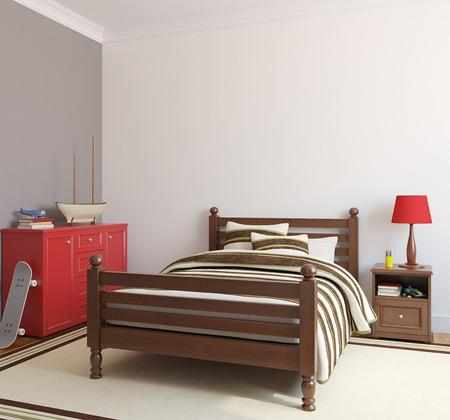 boy bedroom: Bedroom for boy. 3d render.