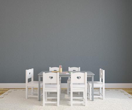 Speelkamer interieur met kind tafel en stoelen. 3d render.