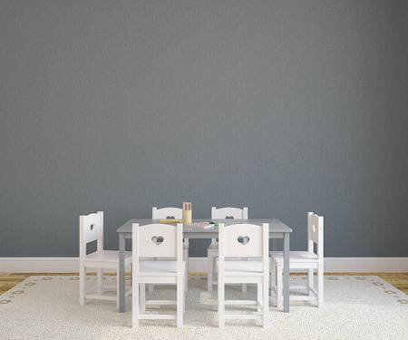 Playroom interior with child table and chairs. 3d render.