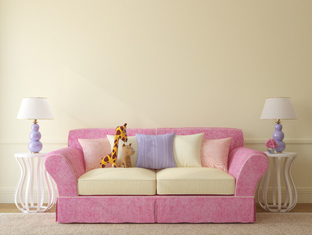 interior wall: Interior of toddler room. Colorful couch near empty beige wall. 3d render. Stock Photo