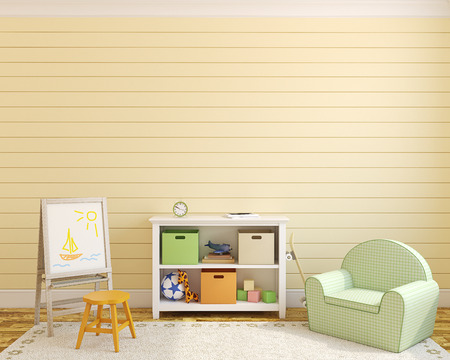 room wall: Colorful playroom interior. 3d render.
