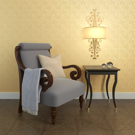 living room wall: Interior. Armchair near the wall. 3d render. Stock Photo