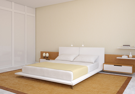 modern bedroom: Modern bedroom interior. 3d render.