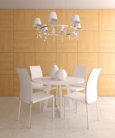restaurant tables: Modern dining-room interior. 3d render. Stock Photo