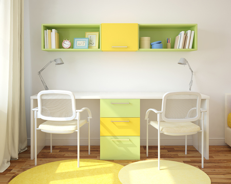 Study Desk: Modern home office for two children. 3d render.