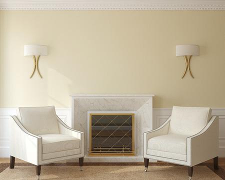 暖炉のあるモダンなリビング ルームのインテリア。3 d のレンダリング。 写真素材