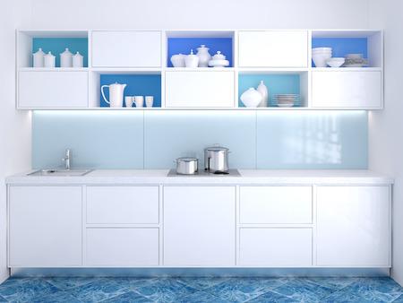 cucina moderna: Interno di cucina moderna. 3d rendering.