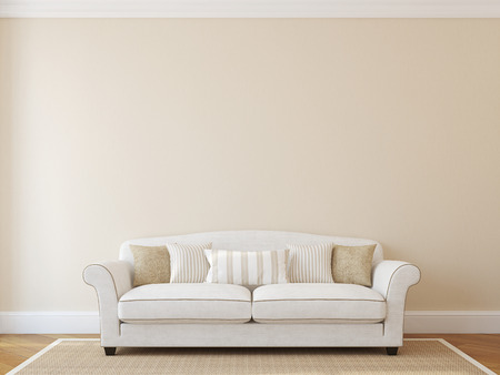 Interior with white classic couch near empty beige wall. 3d render. Banque d'images