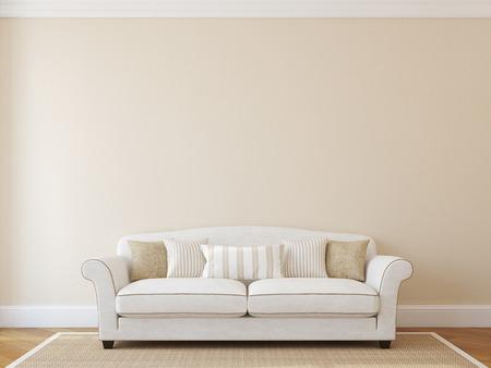 Interior with white classic couch near empty beige wall. 3d render. Archivio Fotografico