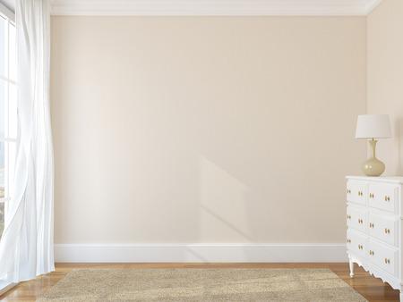 ecole maternelle: Int�rieur de la chambre vide. 3d render. Photo derri�re la fen�tre a �t� faite par moi.