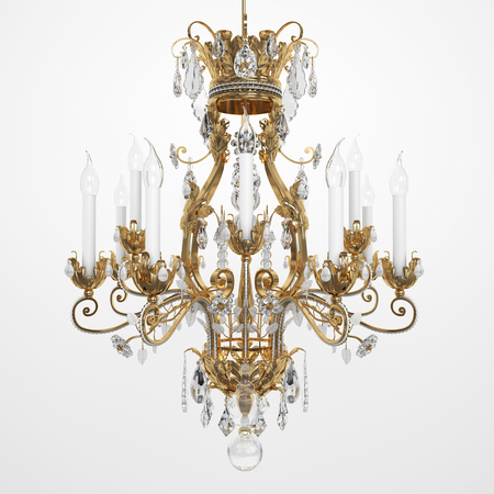 Luxury Glass Chandelier on white background. 3d render.