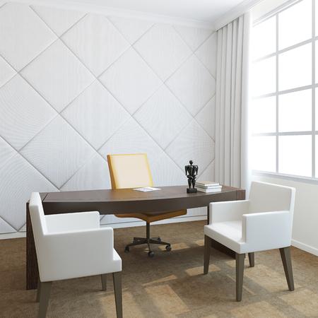 silla de madera: Oficina moderna interior.3D render.