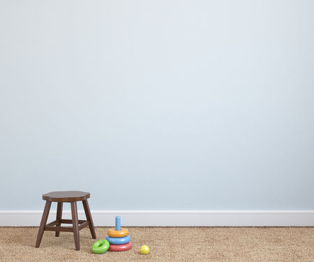 Binnenland van speelkamer met stoel in de buurt van lege blauwe muur. 3d render.