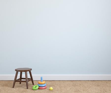 silla: Interior de la sala de juegos con la silla cerca de la pared azul vac�a. 3d.