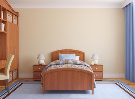 cama: Sala de juegos interior. 3d. Foto de archivo