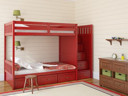 two children: Bedroom interior for two children. 3d render. Stock Photo