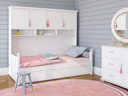 Slaapkamer interieur voor meisje. 3d render. Stockfoto