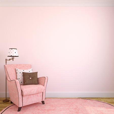 on pink: Modern interior with pink armchair.3d render.
