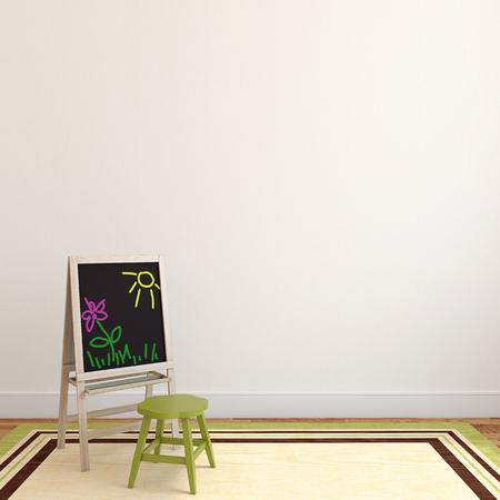 white interior: Colorful playroom interior. 3d render.