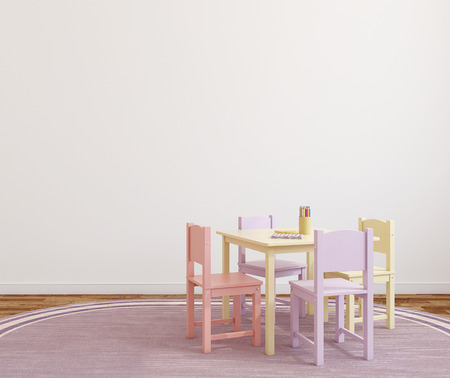 room wall: Playroom interior with small table and four chairs. 3d render.