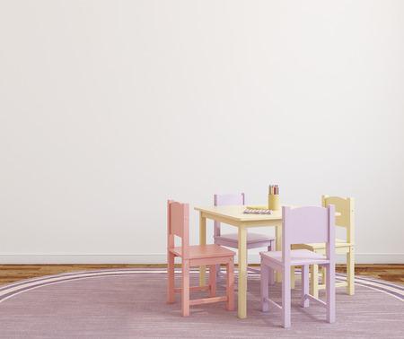 Speelkamer interieur met kleine tafel en vier stoelen. 3d render.