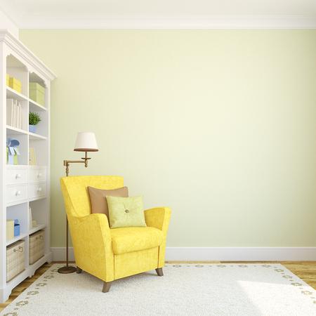 Modern binnenland met boekenkast en armchair.3d maken.