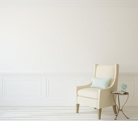 Interieur met beige leunstoel dichtbij witte muur. 3d render.