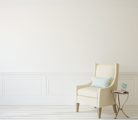 room decoration: Interior with beige armchair near white wall. 3d render. Stock Photo