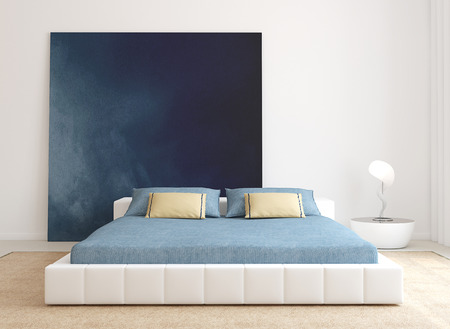 modern painting: Modern bedroom interior. Minimalism. 3d render.